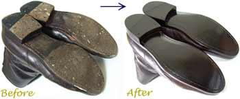 アーペーセー(A.P.C)紳士ブーツのオールソール交換修理前と修理後