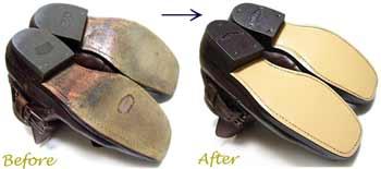 ランチョ(RANCHO)紳士ブーツのオールソール交換修理前と修理後