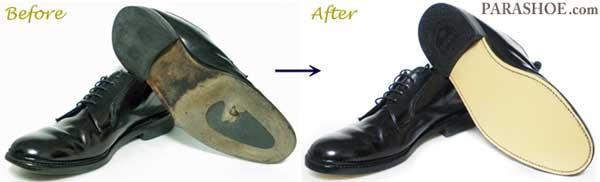 TUFF(タフ)British Classic(ブリティッシュ・クラシック)プレーントゥ紳士靴 のオールソール交換修理前と修理後