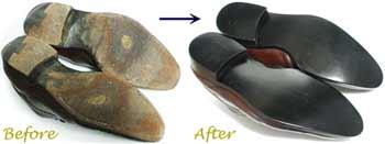 ヤンコ(YANKO)スペイン製 紳士靴のオールソール交換修理前と修理後