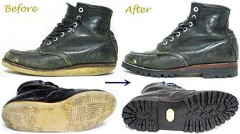 チペワ(CHIPPEWA)ワークブーツのオールソール交換修理前と修理後