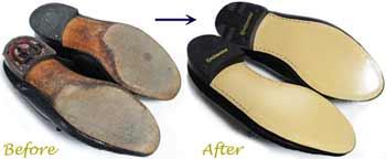 クリスチャン・ディオール(Christian Dior)紳士靴のオールソール交換修理前と修理後