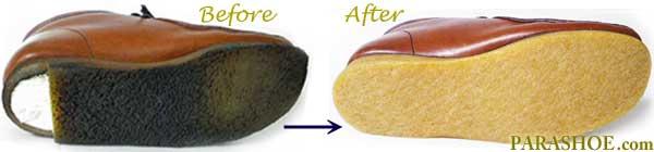 クラークス ワラビー ブーツ(Clarks WALLABEE BOOT)のオールソール交換修理前と修理後