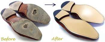 ジョンストン&マーフィー(Johnston&Murphy) 紳士靴のソール交換修理前と修理後