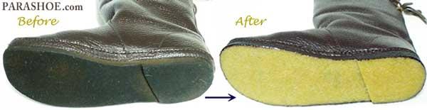 KOOS(コース) レディースブーツのオールソール交換修理前と修理後