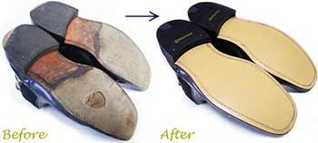 ローク(Loake)サイドゴアブーツ 紳士靴のオールソール交換修理前と修理後