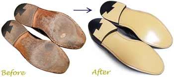 ポロ・ラルフローレン(POLO by RalphLauren)紳士靴 のオールソール交換修理前と修理後
