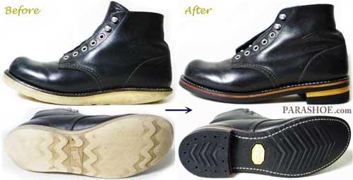 レッドウィング(RED WING) 8165 ブーツ のオールソール交換修理前と修理後