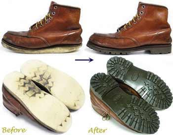 ホーキンス(HAWKINS)セッタータイプ 紳士ワークブーツ のオールソール交換修理前と修理後