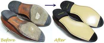 スコッチグレイン(SCOTCH GRAIN)紳士靴のソール交換修理前と修理後