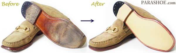SEBAGO(セバゴ)ローファー のオールソール交換修理前と修理後