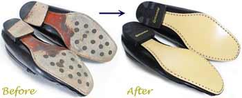 スペイン製 紳士用レザーシューズ のオールソール交換修理前と修理後