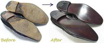 アルフレッドサージェント(Alfred Sargent)紳士靴 のオールソール交換修理前と修理後