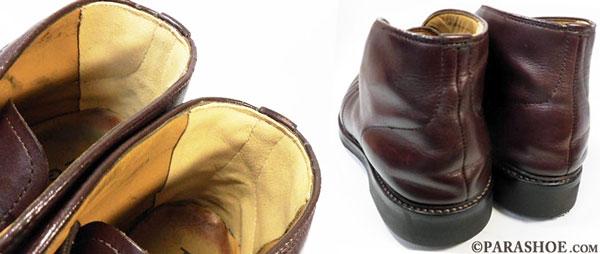 かかと内張り(スベリ)ブーツ の履き口まで革当て修理前と修理後