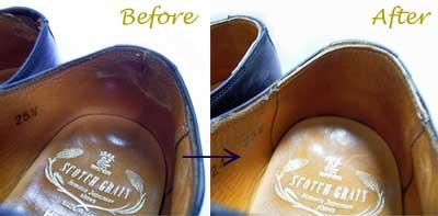 かかと内張り(スベリ) /短靴の修理前と修理後
