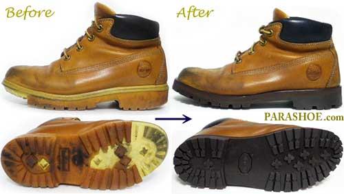 ティンバーランド(Timberland)ワークブーツのオールソール交換修理前と修理後