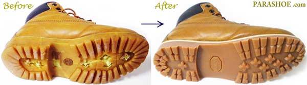 ティンバーランド(Timberland)ワークブーツ のオールソール交換修理前と修理後