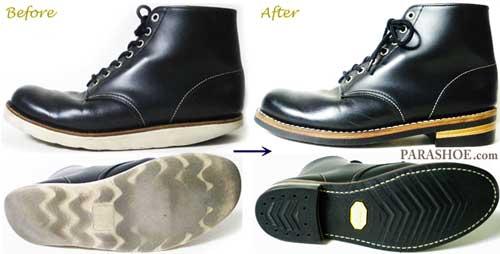 ユナイテッドアローズ(UNITED ARROWS green label relaxing)ブーツ のオールソール交換修理前と修理後