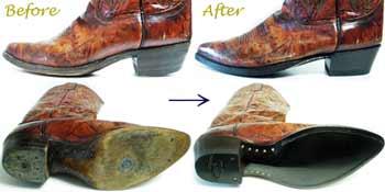 トニーラマ(Tony Lama)ウェスタンブーツのオールソール交換修理前と修理後