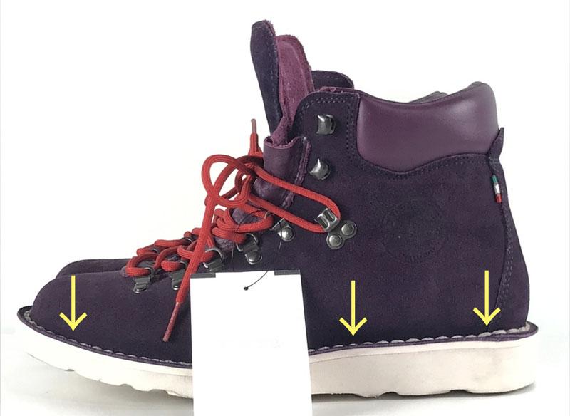 DIEMME ブーツの、ステッチダウン式製法によるステッチ(縫い)部分