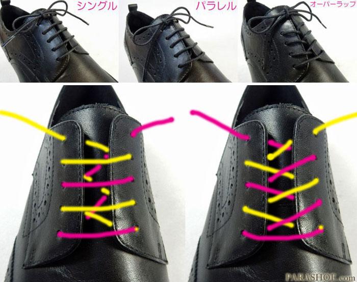革靴の靴紐の通し方(結び方)の種類