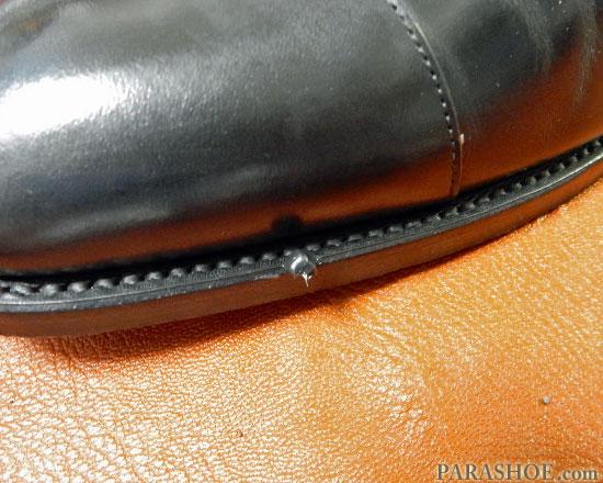 コバに塗った乳化性靴クリーム