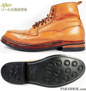 修理後のブーツ(ダイナイトソール+革積み上げヒール/ノルウィージャン製法)