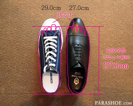 29.0cmのスニーカー(コンバース オールスター)と、「27.0cm」の革靴の足入れサイズと捨て寸のイメージ図