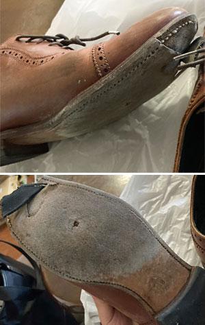 ニューヨーカー(NewYorker)の革靴のレザーソール部分-修理前