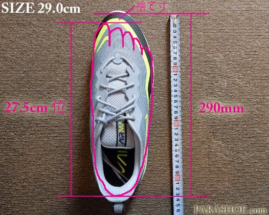 ナイキ(NIKE)ランニングシューズのサイズ表記イメージと、足入れイメージ