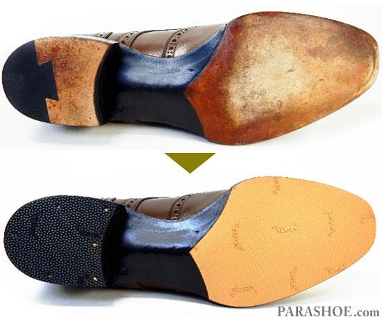 ベージュのビブラム(Vibram)ハーフラバーを半カラス仕上げの形状に合わせてカットして貼り付け、ヒールはゴムリフト(ビブラム)へ交換した紳士靴(革靴・ビジネスシューズ)