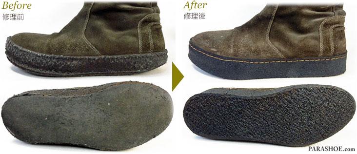 天然クレープソール+マッドガードをオパンケ製法にて修理したブーツの修理前と修理後
